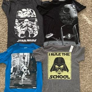 Lot of 4 Star Wars Shirts Boys Youth Small 6-7, 8